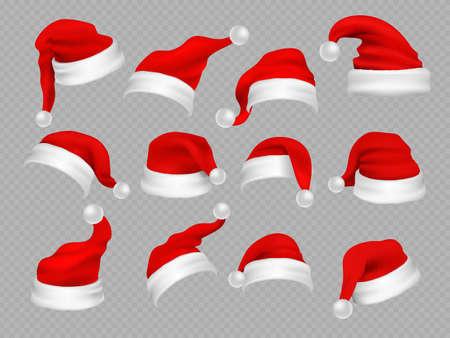 Big set of realistic Santa Hats isolated on transparent background. Vector santa claus hat colllection, holiday cap to xmas illustration Ilustración de vector