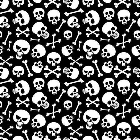 Bones and skulls seamless pattern background for fashion, halloween, piracy. Vector illustration Vecteurs