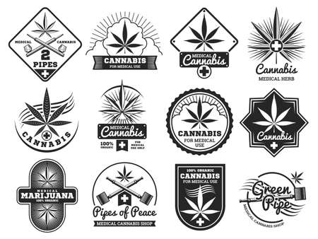 Hashish, rastaman, hemp, cannabis, marijuana vector labels set isolated on white illustration