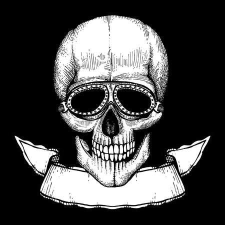 Vector poster with hand drawn human skull with bikers glasses and ribbon banner illustration Ilustração Vetorial