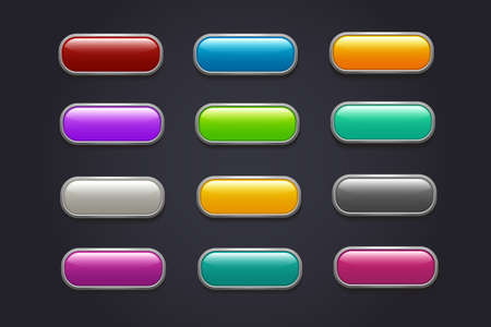 Game buttons. Glossy cartoon video game button vector collection. Interface game buttons menu, glossy app illustration Vettoriali