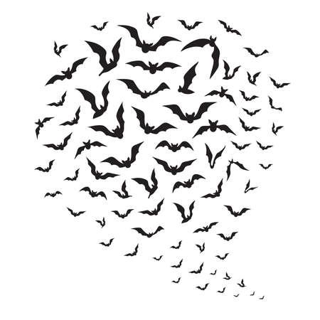 Halloween flying bats. Swarm of bat silhouettes in sky. Vector Illustration