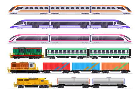 Trains set. Passenger and freight train with wagons. Vector railway transportation isolated on white background. Railway transport passenger and cargo freight, electricity type illustration Vettoriali