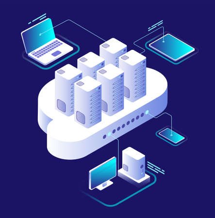 Cloud computing concept. Computing network, cloud smartphone app. Data storage technology 3d vector infographic. Illustration of communication and connection service, computer isometric processing 向量圖像
