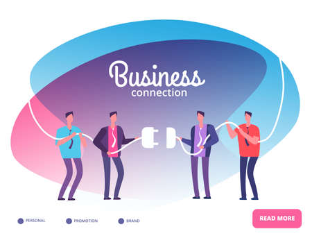 Business teams connect plug. Businessmen connecting connectors. Cooperation and team growth vector concept. Connect work team people, communication and partnership teamwork illustration Ilustración de vector