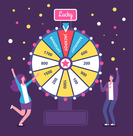 Fortune wheel with people. Man and woman spinning roulette wheel. Risk game and casino lottery vector concept. Illustration of winner people woman and man in casino