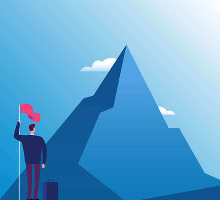 Businessman with flag at mountain. New purpose, success vision and goals achievement, business vector concept. Illustration of businessman purpose target and goal peak 矢量图片