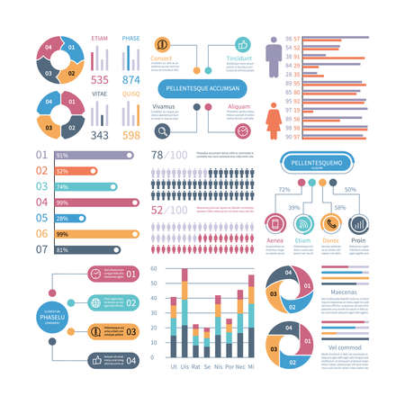 Infographic graphs. Business chart process info-chart diagram option flowchart with people icons. Vector financial infographics elements. Illustration of flowchart process, graph and diagram Ilustración de vector