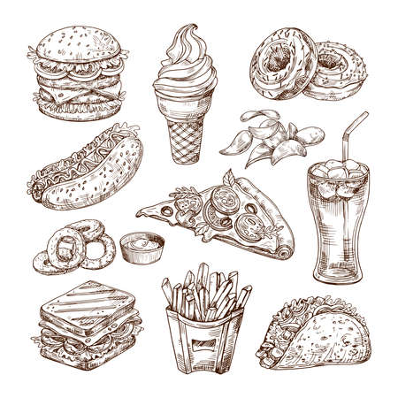 Sketch fast food. Burger hot dog, sandwich snacks, chips and ice cream, cola pizza. Hand drawn fast food vector set. Hamburger and pizza, sandwich food, menu fast food illustration