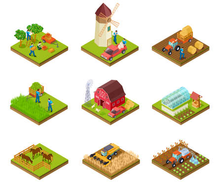 Isometric farm. Farmer tractor lorry and harvester. Livestock and agricultural green plants. 3d farmland vector set. Illustration of farm isometric, farmer 3d with barn and tractor