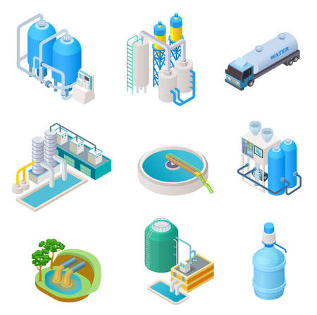 Water purification technology. Isometric treatment water industrial system, wastewater separator vector isolated set. Isometric purification and separator water, reservoir equipment illustration Vector Illustratie