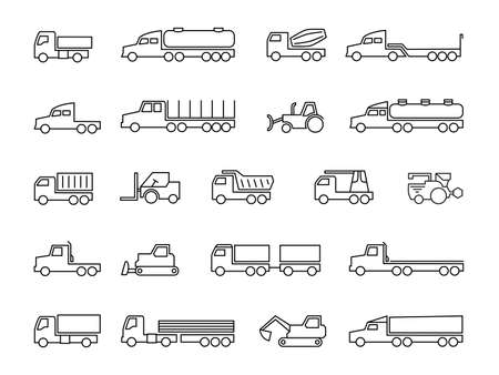 Construction machines. Trucks, tractors, delivery trailers, cargo trucks, dumpers and heavy equipment line icons. Transportation construction machine, lorry and truck transport. Vector illustration