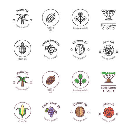 Healthy bio cosmetics oil linear icon. Organic cosmetics ingredients icons set. Collection vector illustration