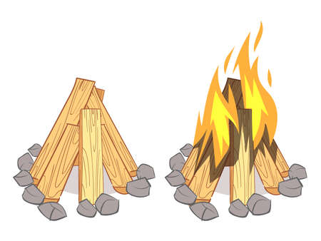 Wood stacks, hardwood firewood, wooden logs and outdoor bonfire with burned logs isolated on white background. Vector illustration Vektorové ilustrace