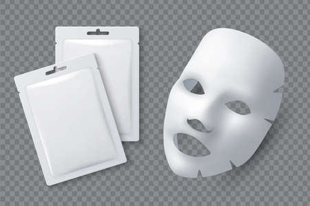 Facial cosmetic mask. Moisturizing cotton sheet for woman beauty. White face cleansing mask and package realistic 3d vector mockup. Cosmetic mask for facial skin female illustration Vector Illustratie