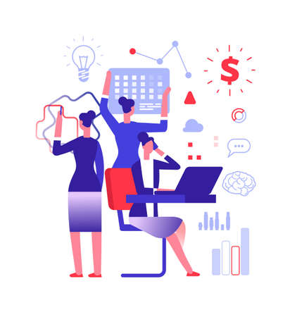 Multitasking concept. Businesswoman solving urgent tasks. Project management, achievement and work skill vector illustration. Business woman multitasking, businesswoman work