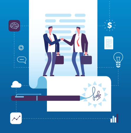 Business agreement concept. Businessman handshaking at contract with signature. Investment, partnership big deal vector illustration. Handshake contract and agreement, businessman negotiation
