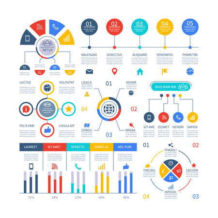 Presentation infographics. Flowchart timeline process chart, organization workflow, number option diagrams. Infographic vector set. Illustration of business step timeline, organization and diagram