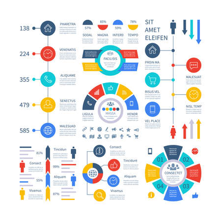 Infographic. Multipurpose financial chart marketing graph, process table, corporate timeline step flowchart. Infographics vector set. Illustration of chart and graph, infographic process