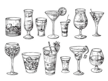 Hand drawn cocktail. Alcoholic drinks in glasses. Sketch juice, margarita martini. Cocktail with rum, gin whiskey vector set. Illustration of alcohol sketch, juice and drink cocktail