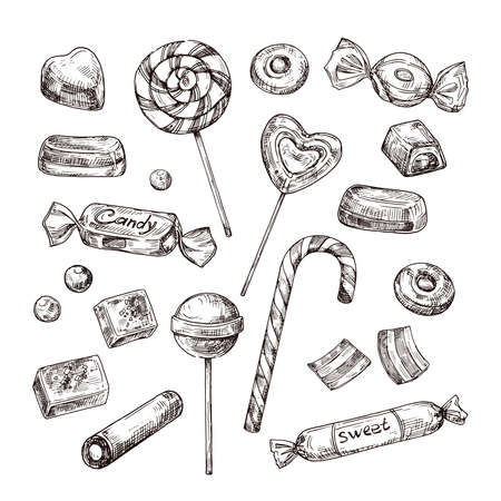 Hand drawn candies. Chocolate candy, lollipop and marmalade, sweets. Vintage sketch vector set of lollipop and candy, chocolate dessert and marmalade illustration