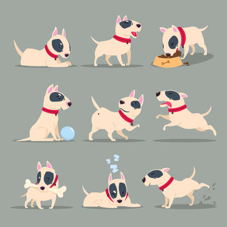 Dog in day activity. Funny cartoon puppy daily routine. Cute dog pet animal vector character set. Happy dog and pet, animal activity friendly illustration Vecteurs