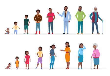 African people of different ages. Man woman baby kids teenagers, young adult elderly persons. African family vector characters. Illustration people process woman and man, growing generation