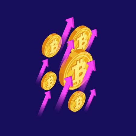Bitcoin and cryptocurrency growth isometric vector concept. Crypt money bitcoin, finance cryptocurrency and blockchain, growth financial illustration Vektoros illusztráció