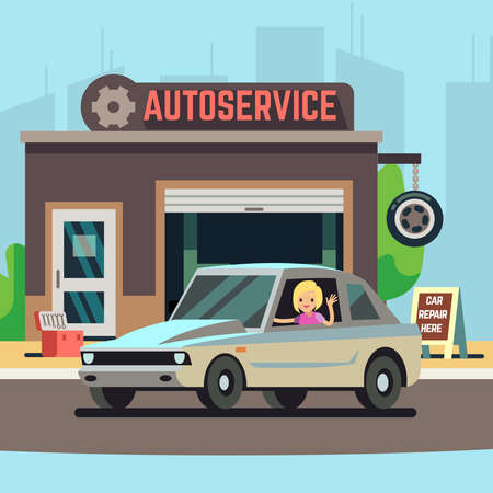 Blonde happy woman driver on car service station or repair garage flat illustration
