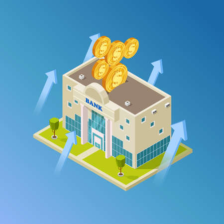 Financial, business, banking vector concept. Isometric 3d bank building, coins illustration