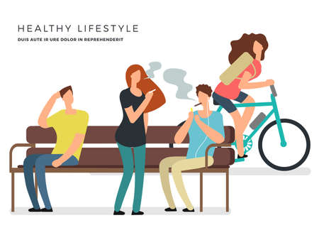 Healthy lifestyle vector poster design with smoking and non-smoking girl and boys. Illustration of smoker with cigarette and health character on bike Vettoriali