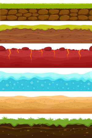 Seamless grounds. Soils, water and land levels with grass, sandy desert. Cartoon vector endless textures set. Illustration of ground and soil horizontal, water and grass for game surface Vecteurs