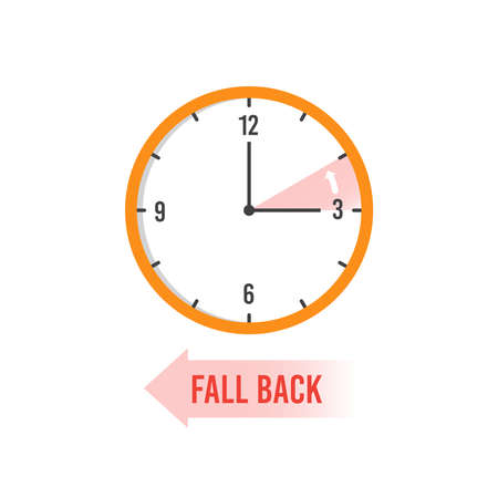 Autumn time back. Change your clocks on winter time vector concept. Illustration of time clock move, season dst