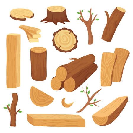Wood log and trunk. Cartoon wooden lumber, plank. Forestry construction materials vector isolated set. Wood timber, wooden material illustration