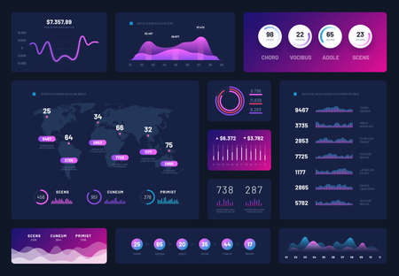Data dashboard. Modern infographic ui interface, admin panel with graphs, chart and diagrams. Analytical vector report. Illustration of diagram analysis, interface dashboard with data infographic Vetores