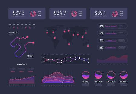 Hud infographics. Modern dashboard interface, sci fi platform with graph, statistics chart control buttons. Vector infographic. Analysis data infographic, ui dashboard, chart information illustration Vecteurs