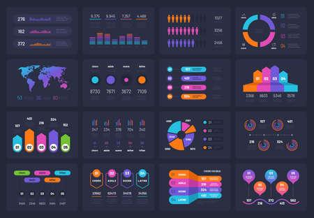 Business infograph elements. Workflow chart financial diagram timeline flowchart circle infograph. Presentation vector infographic. Illustration of diagram timeline, chart flowchart