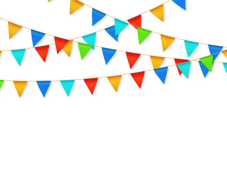 Pennant flag garland. Birthday party fiesta carnival decoration. Garlands with color flags 3d vector illustration. Carnival decoration hanging on rope, celebration banner with place