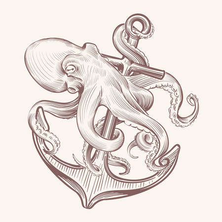 Octopus with an anchor. Sketch sea Kraken squid holding ship anchor. Octopus navy tattoo vector vintage design. Illustration of octopus and anchor, mythical animal and hook