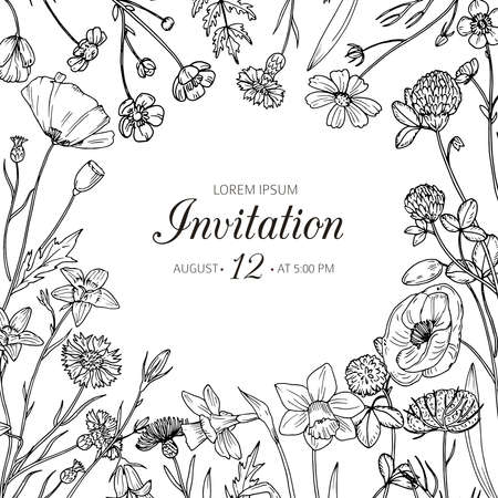 Wildflower background. Wedding invitation with summer wild meadow flowers. Spring floral retro sketch vector card. Flower meadow spring, floral invitation card illustration