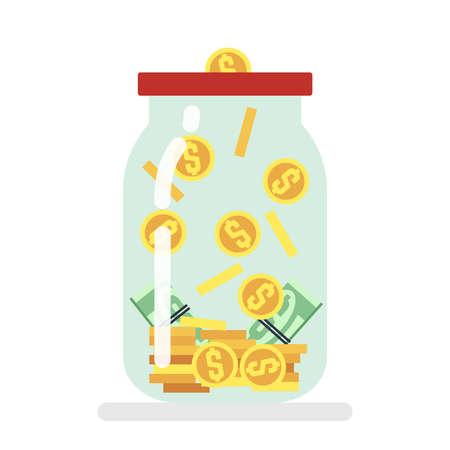 Saving money glass jar flat vector illustration. Storage and moneybox, earnings and profit