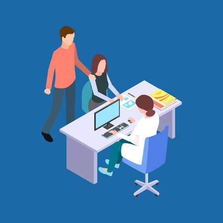 Woman and man visit a doctor. Couple at a fertility specialist isometric vector concept. Medical doctor and visit man and woman to hospital illustration