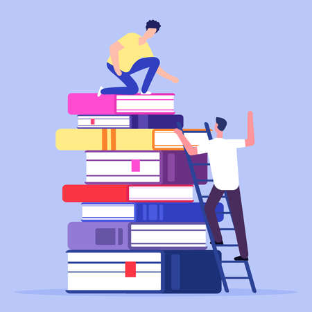 Help and support in education vector concept. Illustration of education support concept. Stack of books
