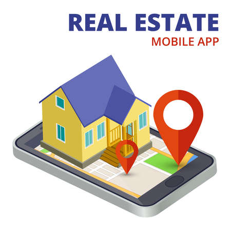 Isometric real estate mobile app with phone and 3d house vector. Illustration of real estate mobile app