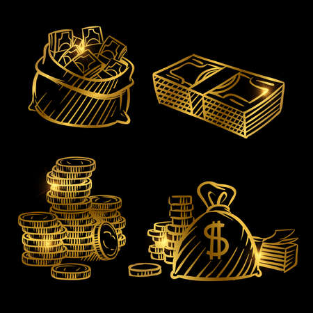 Sketch of money. Golden vector coins and money isolated on black background. Illustration of money golden sketch, gold cash coin