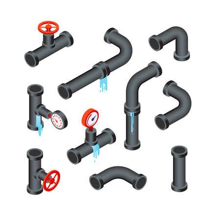 Broken pipes. Leaking water pipeline tubes. Leakage plumbing system 3d isometric vector isolated set. Illustration of pipeline plumbing, tube system leak