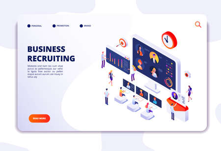 Recruitment landing page. Businessmen have interview in office. Hr employment agency, online recruitment isometric vector concept. Illustration of business recruiting online, resources people Vektorgrafik