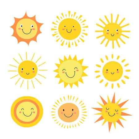 Sun emoji. Funny summer sunshine, sun baby happy morning emoticons. Cartoon sunny smiling faces vector icons. Illustration of sun heat, emoji and emotion mascot