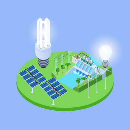 Ecological energy isometric vector concept with solar panels, eco lights bulbs, hydropower station illustration