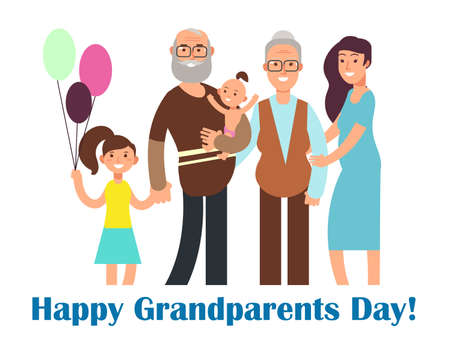 Cartoon happy family with grandparents. Grandparents Day vector illustration. Grandmother and grandfather day, grandchildren with grandparent poster
